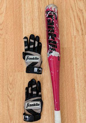 Franklin Teeball Baseball Aluminum Bat & Batting Gloves for Sale in Bolingbrook, IL