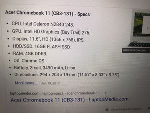 Acer Chromebook Cb3-131 for Sale in Newark, NJ