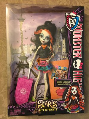 Monster high doll Skelita Calaveras scaris city of frights sugar skull candy skeleton for Sale in Wichita, KS