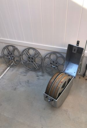 3 films and metal case plus 3 movie reels great decorations for Sale in Corona, CA