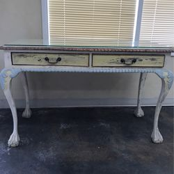 Girls Desk Antique Shabby Chic Style All Wood With Glass Top for Sale in Los Angeles,  CA