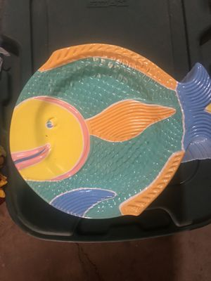 Vintage plastic fish serving plate - with bowl for Sale in Los Angeles, CA