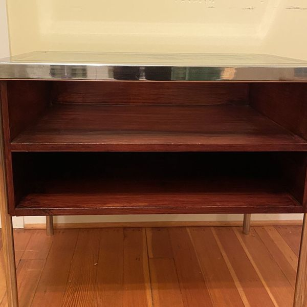 """Metal Wooden Side End Table Cabinet MCM coffee Storage Unit Console 30"""" x 21""""x 26"""""""