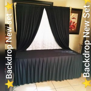 🌸Backdrop New set For sale 🌸 Include...... $40.00 set 2 curtains And 1 Table cloth Black Firm Price .🙏Please serious Buyers for Sale in Fontana, CA