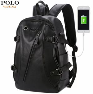 Polo Vicuna Backpack External USB Charger Fashion PU Leather Travel Bag Casual School Bag leather bookbag for Sale in Dallas, TX