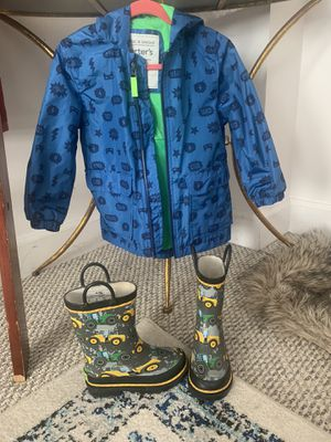 Rain jackets and boot jackets size 4 boot size 9 for Sale in Vienna, VA