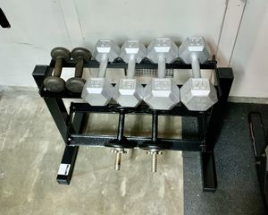 Dumbbells and rack. 5lb, 10lb, 15lb, and 20lb pairs for Sale in Santa Ana, CA