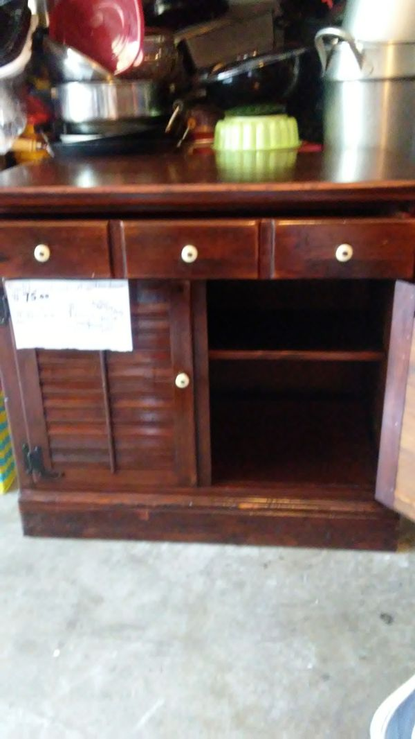 $100.00 One small dresser three drawers leather dresser with a shelf 2 pieces