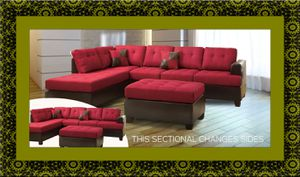 Red sectional with ottoman for Sale in Rockville, MD