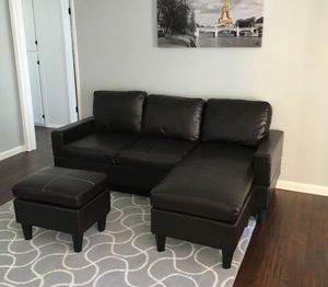 Bend New Black Faux Leather Sectional Sofa Couch + Ottoman for Sale in Silver Spring, MD
