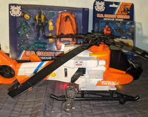 Action Figure Toy Lot Helicopter Tonka lights Sounds working New in Box US Coast Guard Chap Mei Figure Sets Weapons Scuba Raft More for Sale in Beaverton, OR