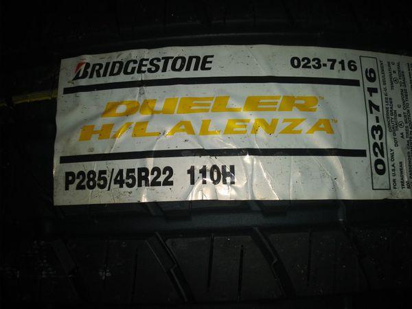 Brand new bridgestone's 285 45-22 in tires