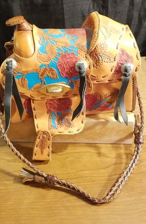 Unique Handcrafted Western SADDLE Leather Purse Custom Houston Livestock and Rodeo for Sale in Lawton, OK