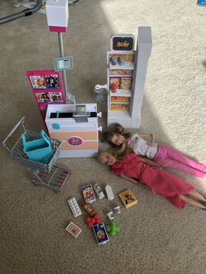 Barbie grocery store set with two barbies for Sale in Seattle, WA