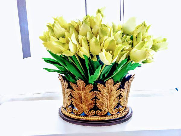 Brass leaf planter artificial flower arrangement