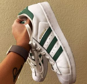 Adidas superstar olive green stripes Size 4.5Y / 6 W for Sale in North Las Vegas, NV