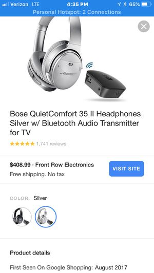 Bose QuietComfort 35 II Headphones Silver w/ Bluetooth Audio Transmitter for TV for Sale in Richmond, CA