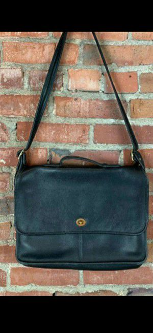 Gorgeous black leather messenger/briefcase bag by Coach for Sale in Fontana, CA