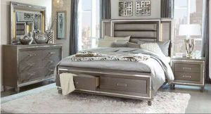 Queen bed frame. Dresser. Mirror and one night stand. Price firm. TU for Sale in Ontario, CA