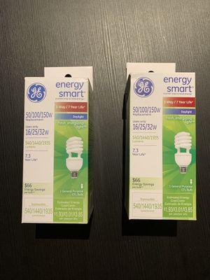 GE Energy Smart 50/100/150w CFL Daylight lightbulbs 2-pack for Sale in Alexandria, VA
