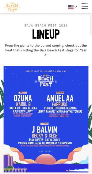 BAJA BEACH FEST 2021 TIX GA for Sale in Los Angeles, CA