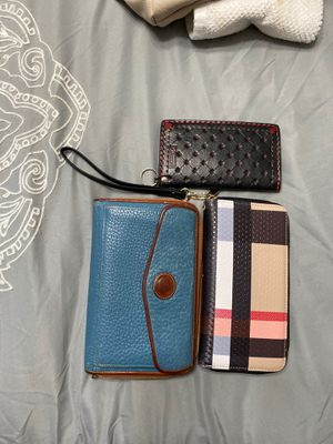 3 Wallets- Dooney and Burke, 1 handmade leather for Sale in Las Vegas, NV