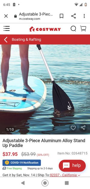 Adjustable 3-Piece Aluminum Alloy Stand Up Paddle for Sale in San Bernardino, CA