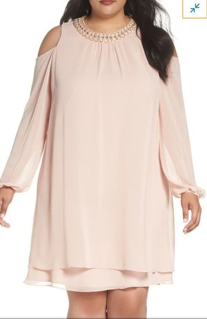 Xscape Blush Embellished Cold-Shoulder Beaded Neck Shift Dress Plus Size 16W for Sale in Reedley, CA