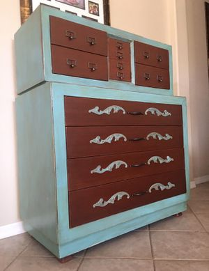 """Dresser / chest of 8 drawers / all solid wood with iron accents and dovetailed drawers / very heavy / 49"""" tall by 41"""" wide by 20"""" deep bottom part for Sale in Glendale, AZ"""