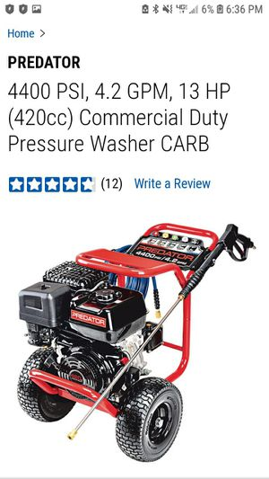 4400psi Commercial Duty Predator Pressure Washer 13hp 4.2GPM for Sale in Tacoma, WA