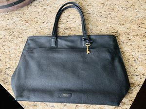 New Fossil Brand Soft Black Leather Tote Bag for Sale in Newark, CA