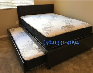 👉 Full_Twin Expresso or white Trundle beds with 2 mattresses included. for Sale in Caruthers, CA