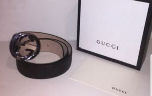Gucci Interlocking Signature Guccissima Black Lining Leather Belt Authentic for Sale in Queens, NY