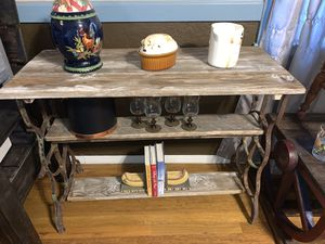 Beautiful solid wood and iron accent 3 tier table for Sale in Anthony, NM