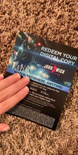 John wick 3 digital code for Sale in Federal Way, WA