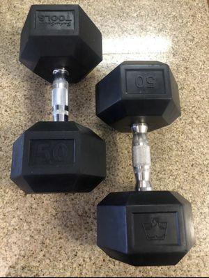 Pair of 50 lbs rubber hex dumbbells for Sale in Washington, DC