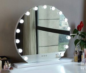 """New in box $140 Round 24"""" Vanity Mirror w/ 15 Dimmable LED Light Bulbs Beauty Makeup (White or Black) for Sale in Montebello, CA"""
