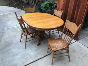 Solid Oak Kitchen Table with 4 Chairs for Sale in Tracy, CA