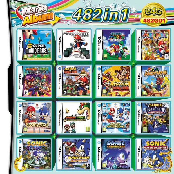 482 in 1 Video game reproduction cartridge for Nintendo DS, DS Lite, DSi, 2DS, 3DS, and XL