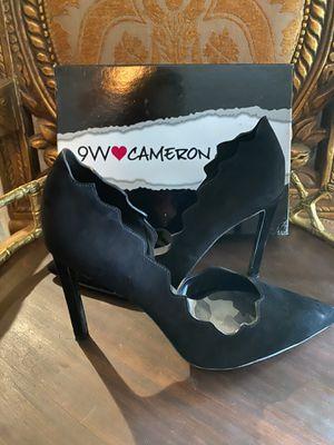 NINE WEST Cameron Silver Black Suede Heels for Sale in Spring, TX