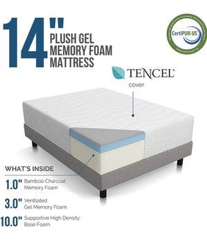 LUCID 14 Inch Medium-Plush Memory Foam Mattress - Ventilated Gel Memory Foam + Bamboo Charcoal Infused Memory Foam - CertiPUR-US Certified - King size for Sale in Glendale, AZ