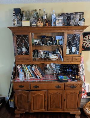 Antique wood hutch with diamond glass detail for Sale in Kaysville, UT