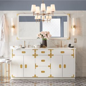 Home Decorators Collection Chatham 72 in. W Double Vanity in White with Faux Stone Vanity Top in White with White Sinks for Sale in Dallas, TX