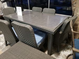 New costco 7pc outdoor patio furniture dining set sunbrella fabric tax included for Sale in Hayward, CA