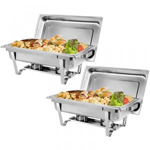 2 Packs 8 Quart Stainless Steel Rectangular Chafer Chafing Dish Buffet W/Warmer for Sale in Wildomar, CA