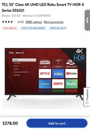 TCL 55 inch tv for Sale in Portland, OR