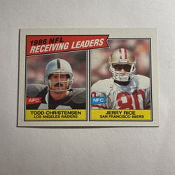 Jerry Rice And Todd Christendom LA Raiders San Francisco 49ers AFC NFC Topps Vintage 1986 Receiving Leaders NFL 228 for Sale in Ocala,  FL