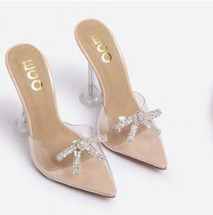 EGO SHOES. Clear heels with rhinestone-size 7 for Sale in Odessa, TX