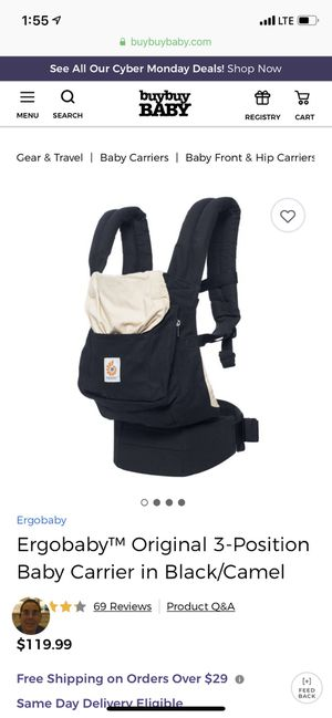 Ergobaby Original 3 position Baby Carrier for Sale in Jersey City, NJ