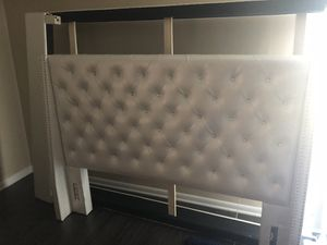 White Queen Bed frame and Headboard for Sale in Alexandria, VA